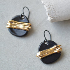 black gold dangle earrings handmade