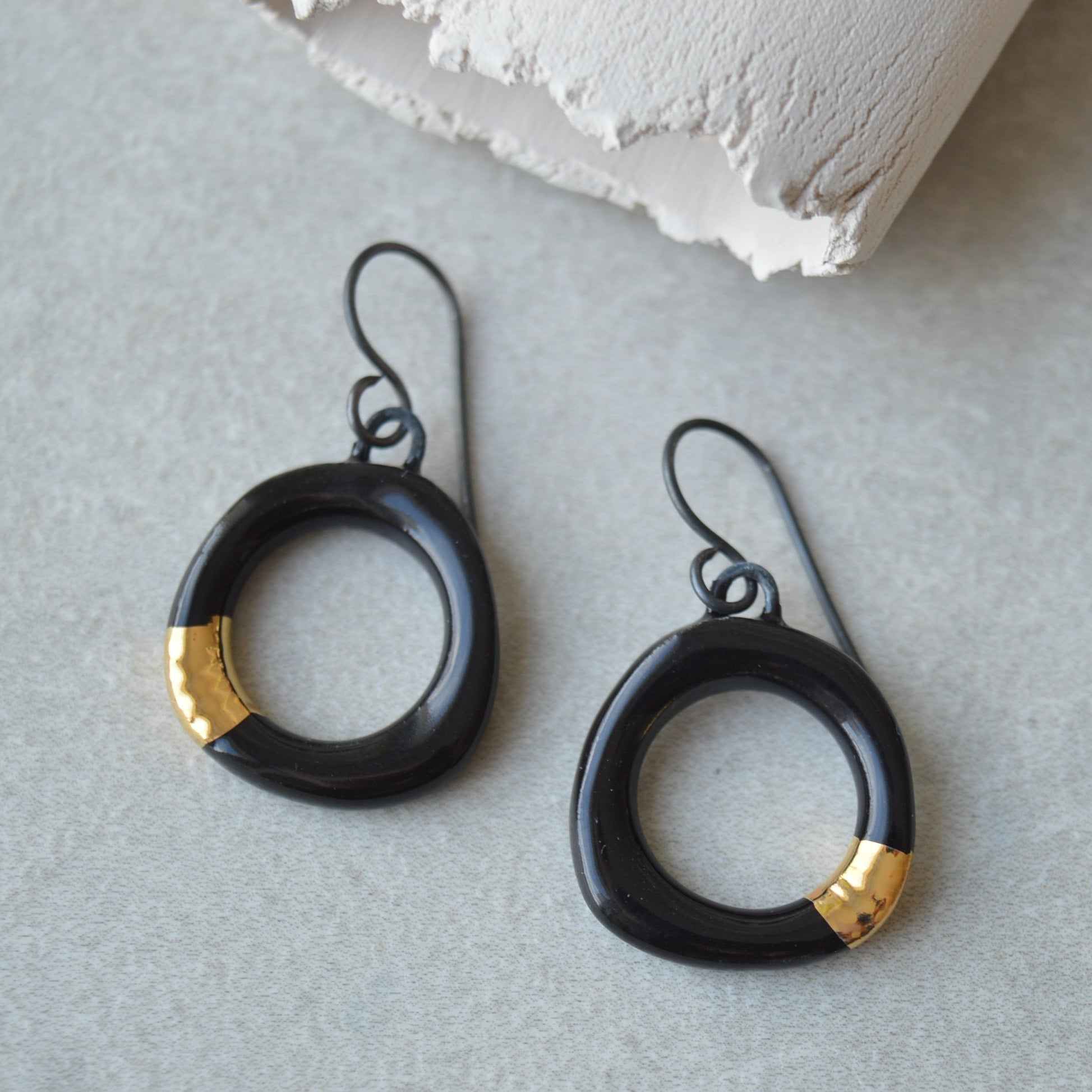 little black hoop earrings