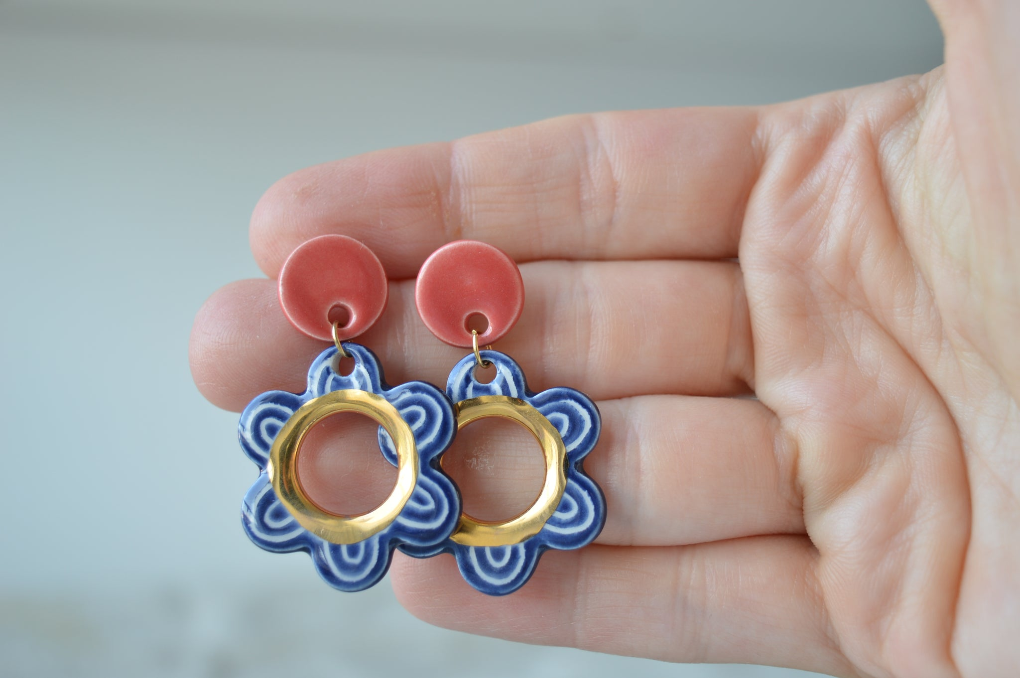 Sunny white beach hoop earrings