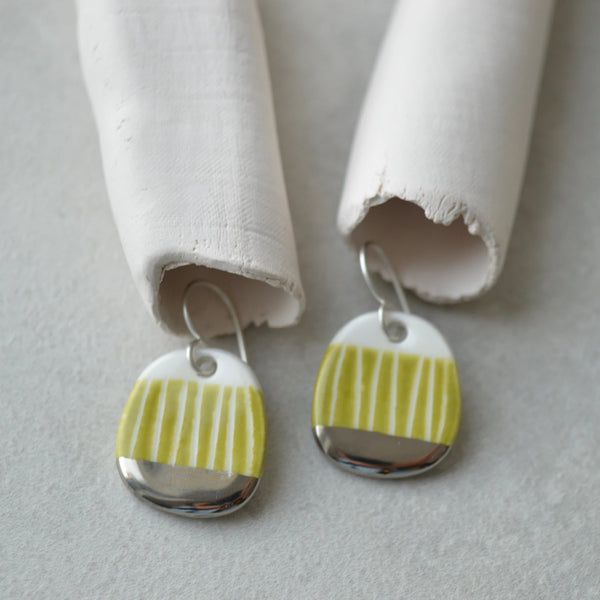 Small green sgraffito dangle earrings