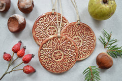 Earthy ceramic ornaments // Christmas decorations - set of 3