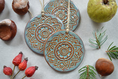 Earthy Christmas ornaments // ceramic decorations - set of 3