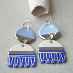 Blue flower girl earrings