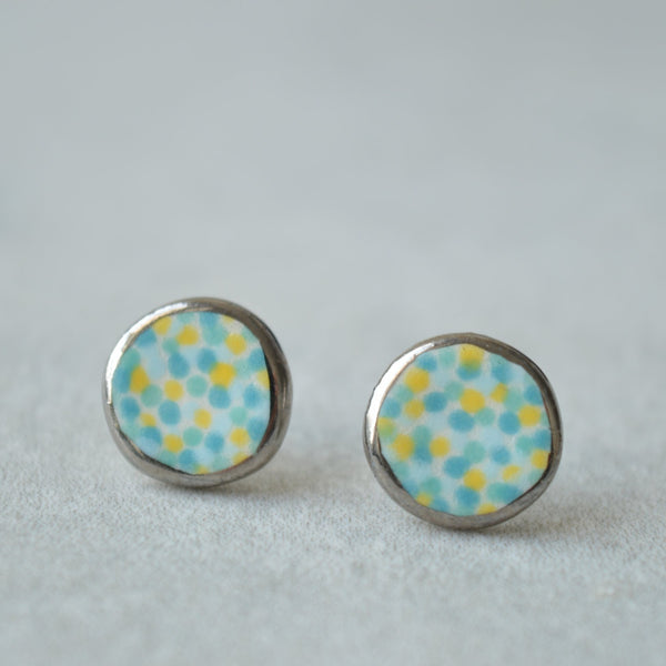 colourful ceramic earrings with silver rim