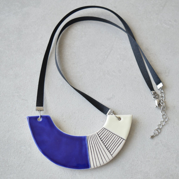 Dakota - geometric ceramic statement necklace - royal blue