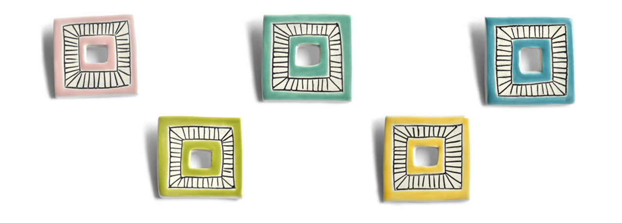 Geometric ceramic brooches