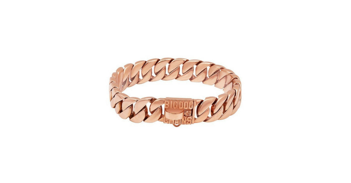 KILO Rose Gold Cuban Link Dog Collar for Large and Strong Dogs - BIG DOG CHAINS