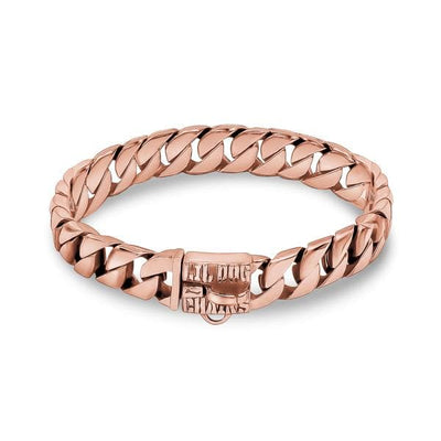 CUBANITO_ROSE_Gold_Dog_Collar_Custom_Cuban_Link_Rose_Gold_FInish_with_Stainless_Steel_Links_Strong_and_Reliable_for_Small_Dogs_like_Chihuahu_Poodles_Micro_Collar_BIG_DOG_CHAINS