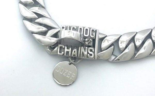 Caesar Stainless Steel Dog Collar  High Refletive Polished Custom Dog Tags Metal Personalized dog collar tags ID - BIG DOG CHAINS