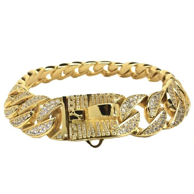 THE GOLDEN ICE | GOLD & CUBIC ZIRCONIA DOG COLLAR | BIG DOG CHAINS