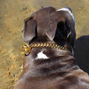 CUBAN CHOKER Luxury Cuban Link Choker Dog Collar for Strong Dogs High Quality Real Cuban Link Choker Check Chain with a Gold Finish - BIG DOG CHAINS