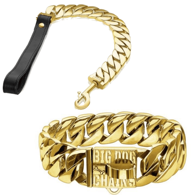 MIDAS Gold Cuban Link Dog Collar and KILO Leash COMBO- BIG DOG CHAINS