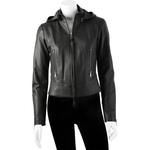 Fabulous leather hoodie, striking