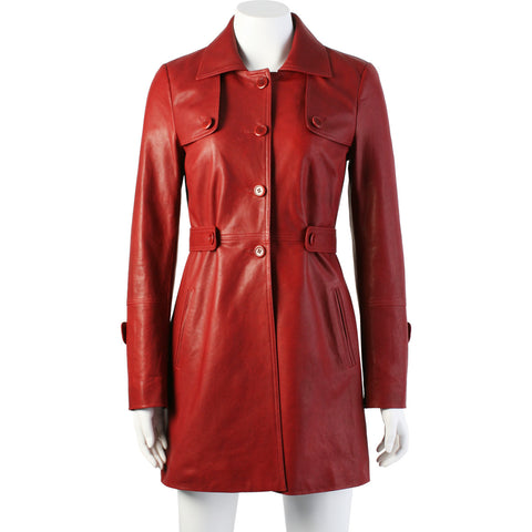 Women's leather trench coat