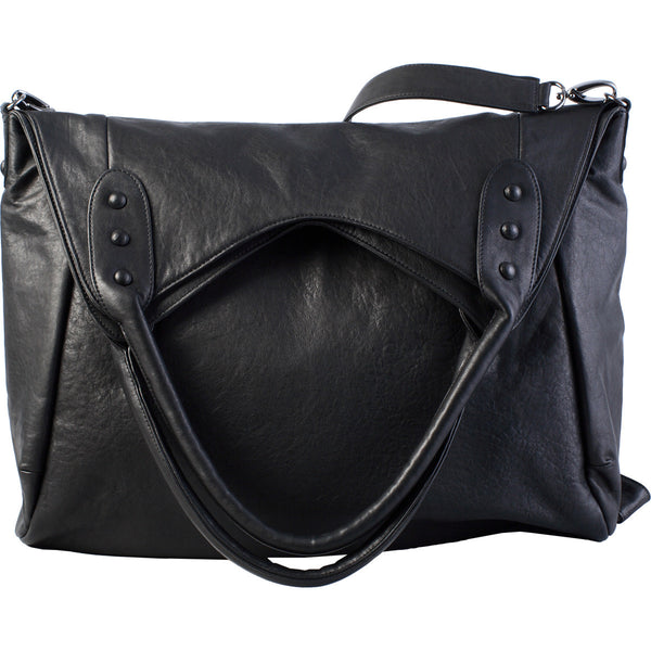Features outer pocket, rolled shoulder strap and leather covered studs.