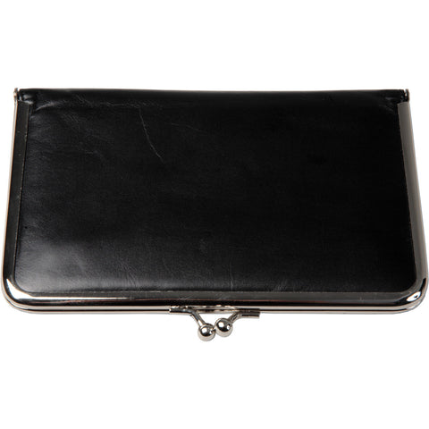 Compartmentalised soft leather wallet with kiss-lock frame