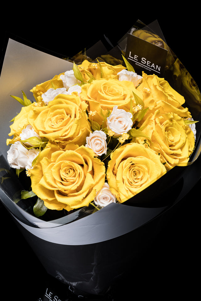 Preserved Bouquet - Yellow roses with white spray roses
