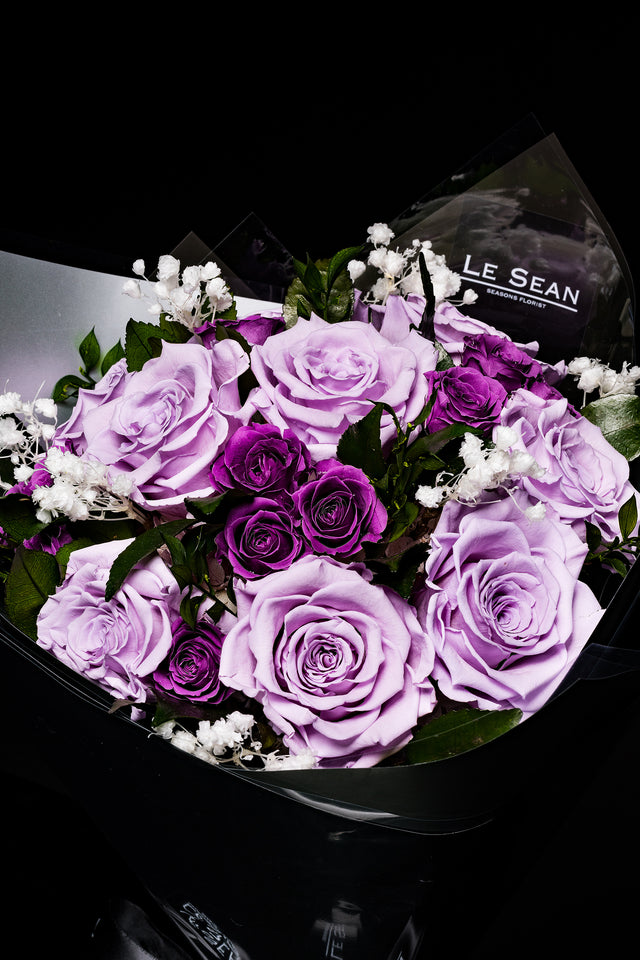 Preserved Bouquet - Lavender Purple Roses With Violet Spray Roses