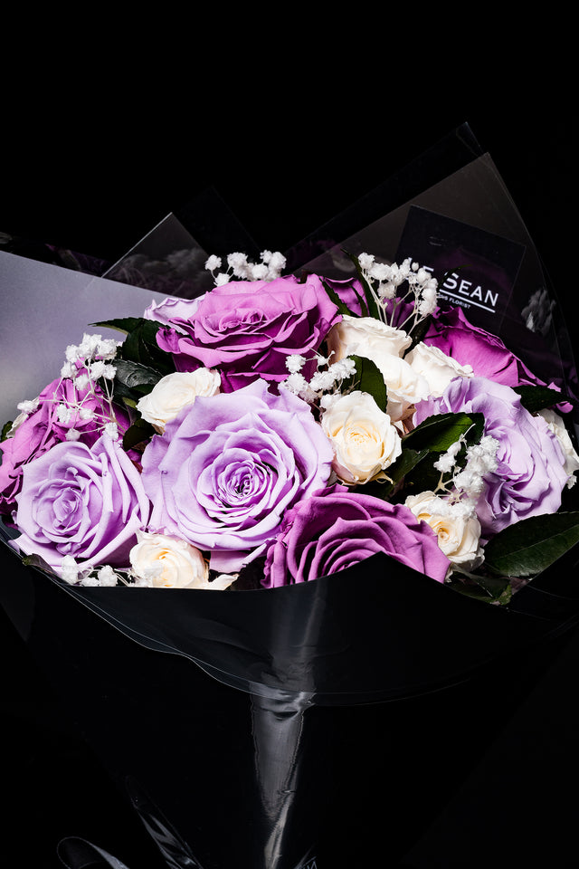 Preserved Bouquet - Lilac And Lavender Purple Roses With White Spray Roses
