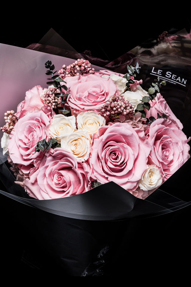 Preserved Bouquet - Pink roses with white spray roses