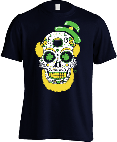 Leprechaun Sugar Skull Shirt Nash Celtic Irish Notre Dame - Mens Navy