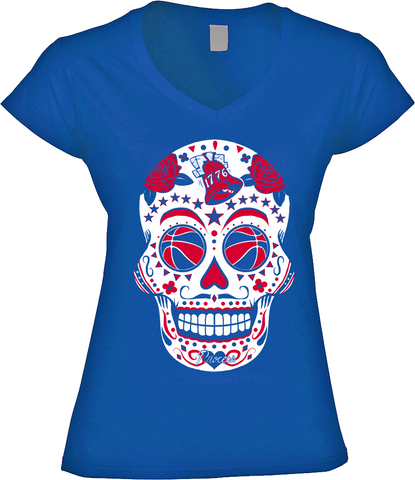 Philadelphia Basketball Sugar Skull Womens