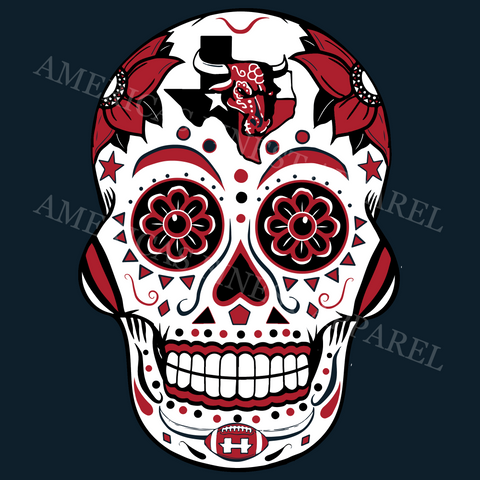 Houston Texas Football Sugar Skull