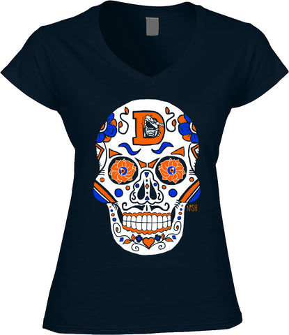Denver Broncos Football Sugar Skull