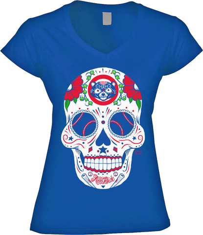 Cubs Sugar Skull - Womens VNeck