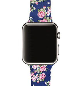 Sötétkék Virágos Apple Watch Szíj 38mm 42mm