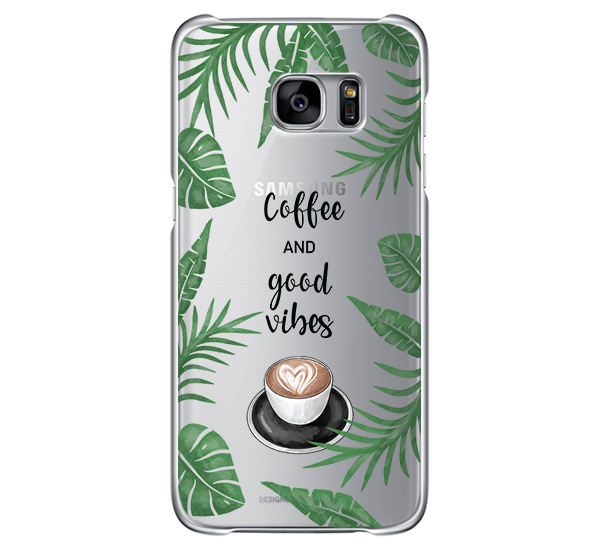 COFFEE AND GOOD VIBES - Átlátszó Samsung Tok
