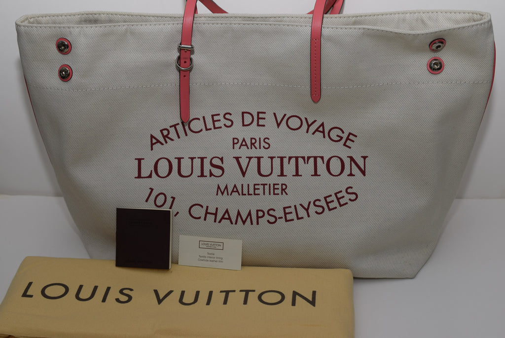 LOUIS VUITTON Like New - Coral Cotton Canvas Articles De Voyage Cabas Mm White /Pink Tote Bag