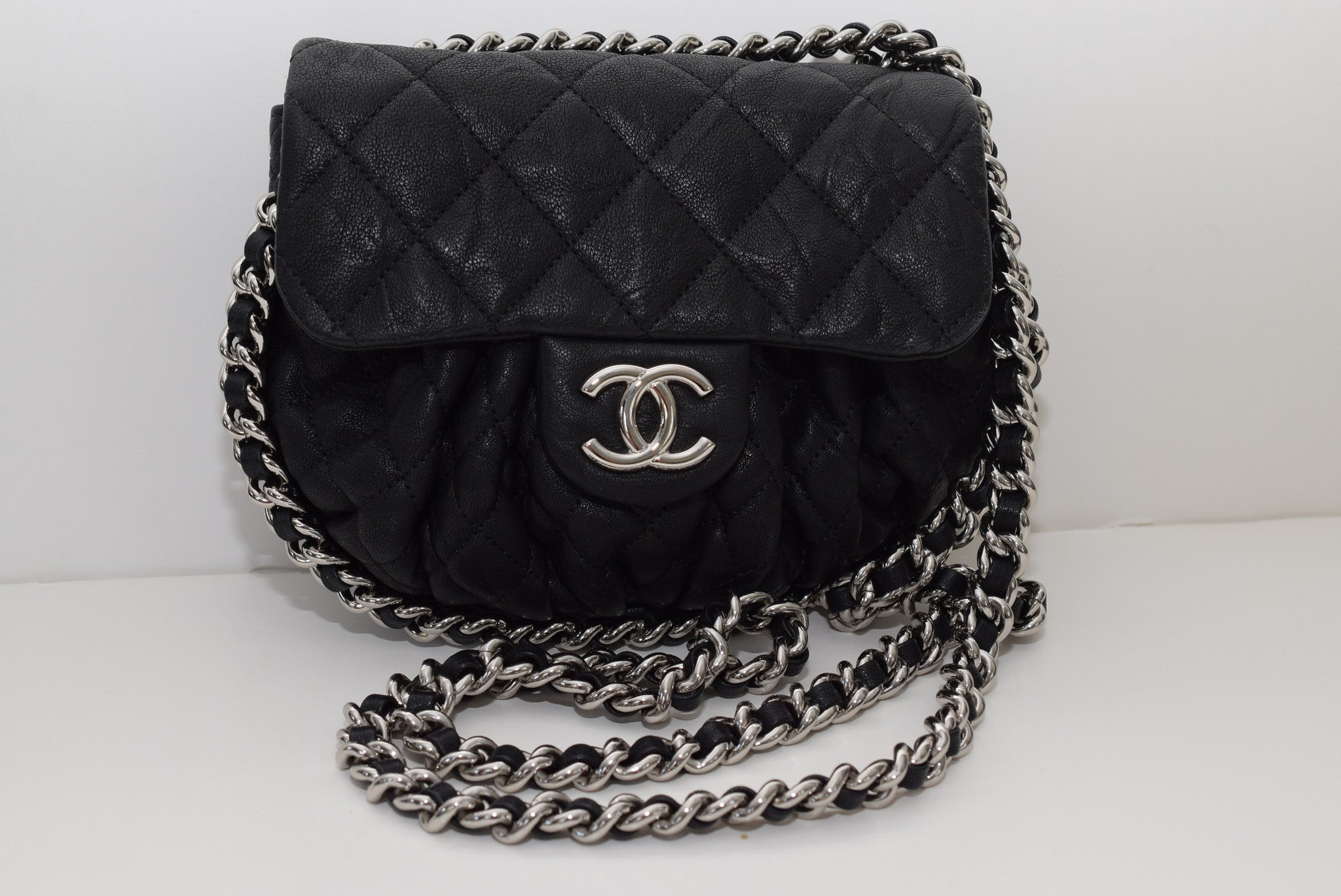 CHANEL Washed Lambskin Quilted Small Chain Around Black W palladium  Hardware Cross Body Bag ... 681ece3070639
