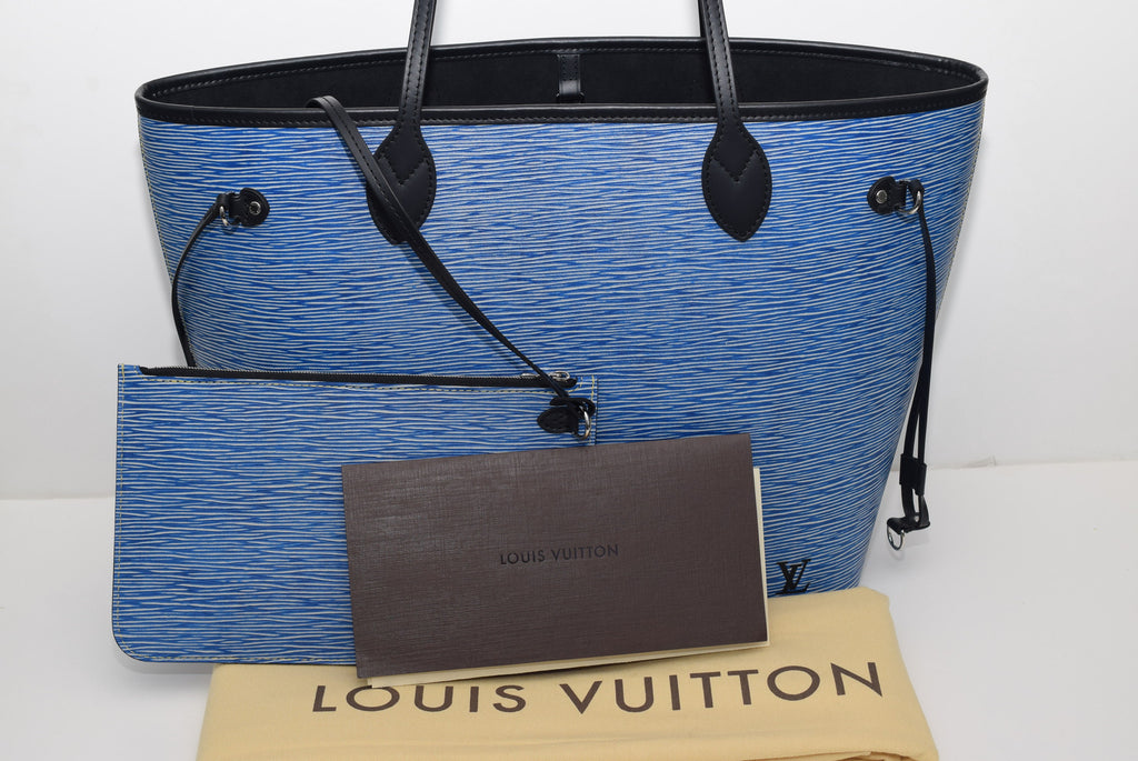 LOUIS VUITTON Limited Edition 2016! Sold Out In Neverfull Mm In Epi Leather M51053 - Date Code: Ub1176 - Made In Spain Denim With Black Suede Interior Tote Bag