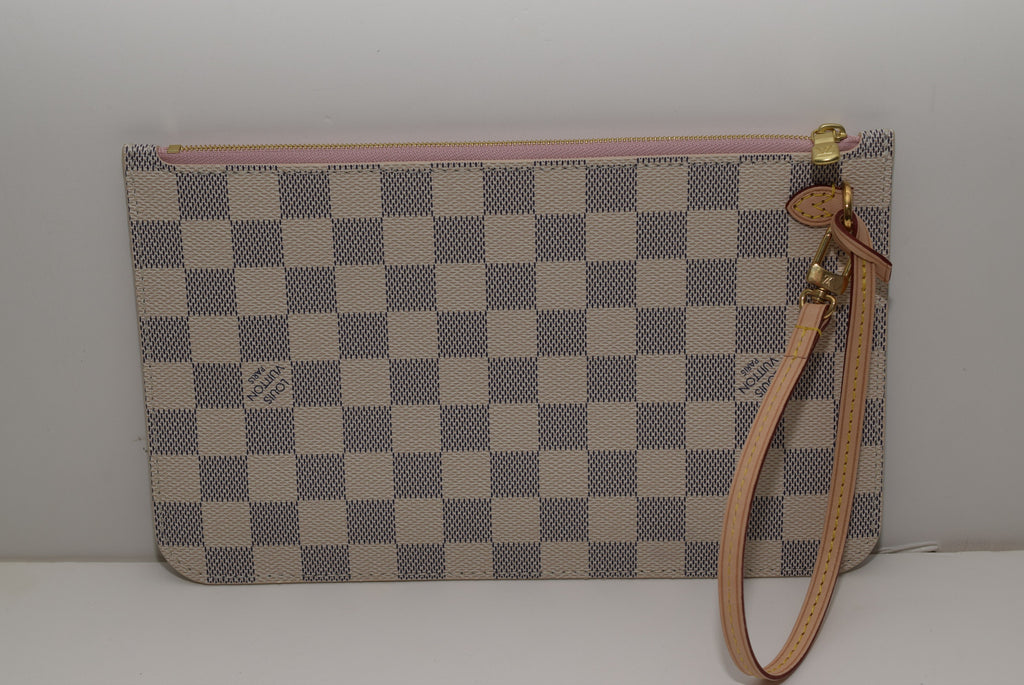 LOUIS VUITTON Brand New 2016! Neverfull Mm/gm Pochette Out Made In France - Date Code: Fl1116 Azur With Pink Ballerine Lining Wristlet
