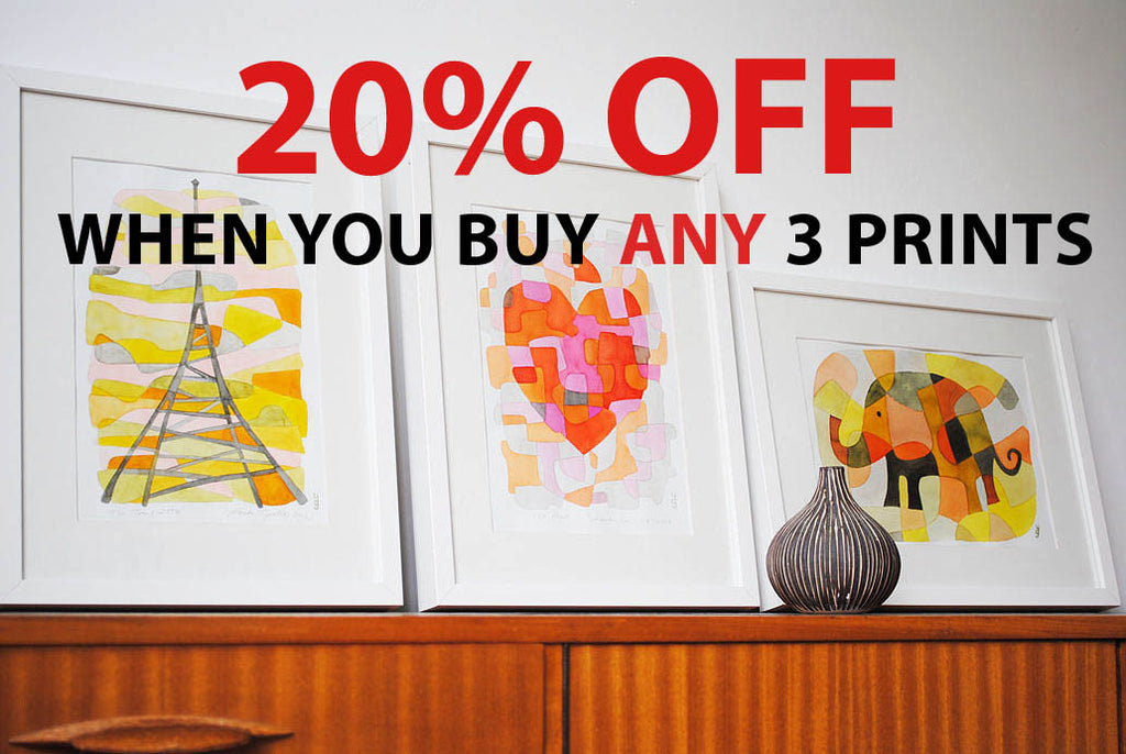 20% OFF When You Buy ANY 3 PRINTS