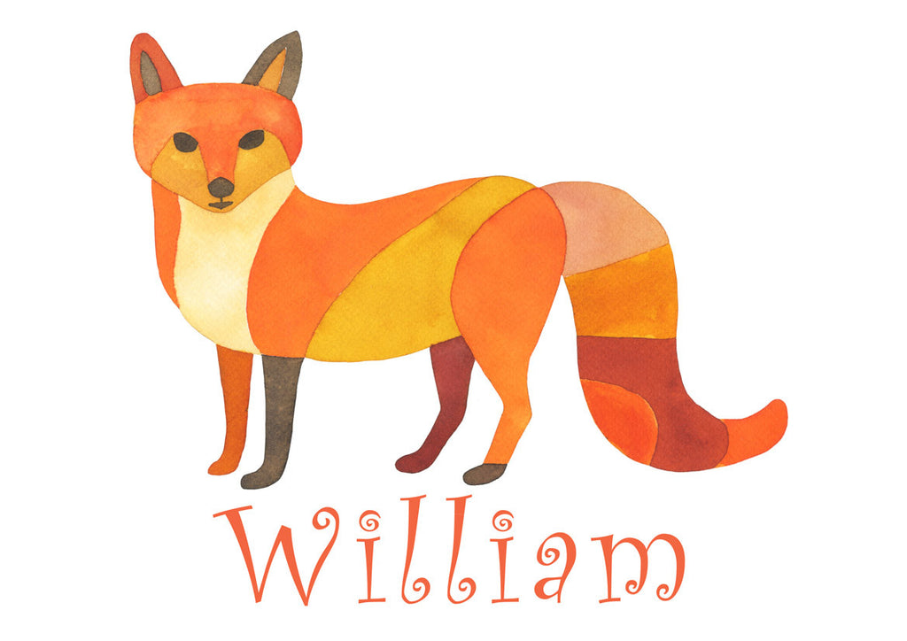 Fox Name Print personalized with Child's Name