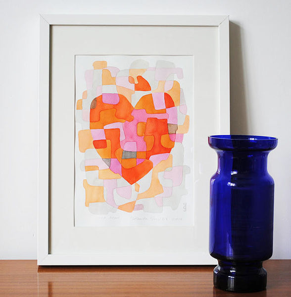 Heart - Mid Century Modern Abstract Art Print - red pink print
