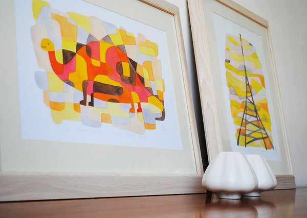 Dinosaur 2 - Mid Century Modern Nursery Print - yellow pink orange