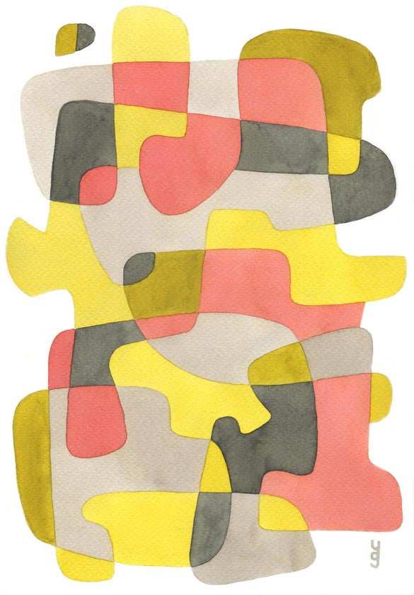 Pink and Yellow - Mid Century Modern Abstract Art Print