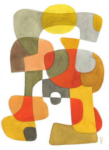 Happy - Mid Century Modern Abstract Art Print