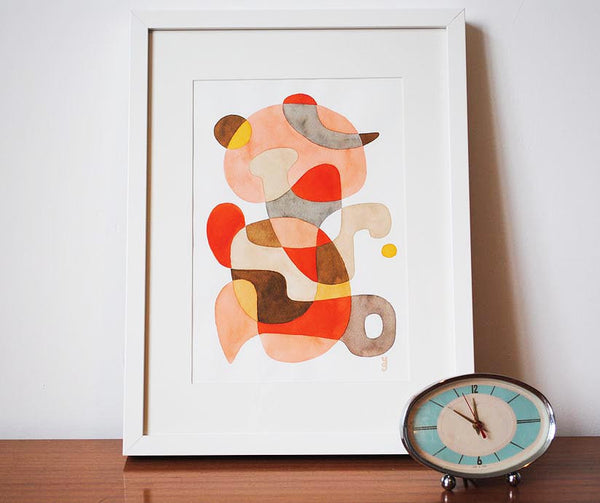 Playful - Mid Century Modern Abstract Art Print - red pink print
