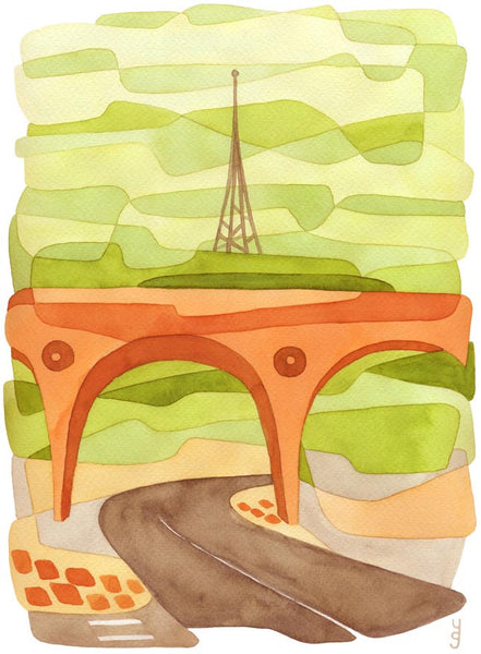 Penge Bridge Mid Century Modern Art Print - green orange Crystal Palace Print