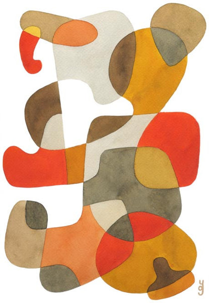 Walking - Mid Century Modern Abstract Art Print - red yellow brown print