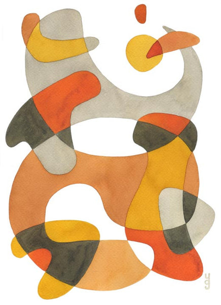 Swirling - Mid Century Modern Abstract Art Print - yellow orange print