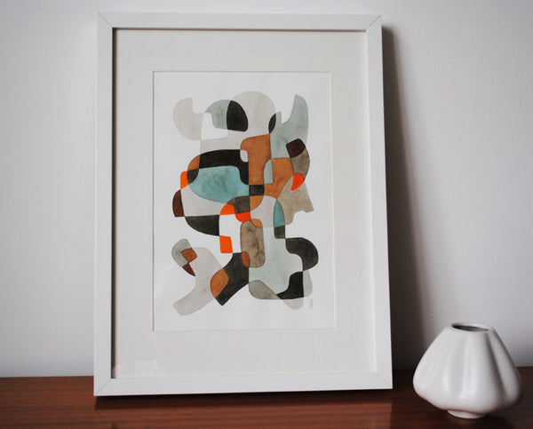 Blue and Brown - Mid Century Modern Abstract Art Print