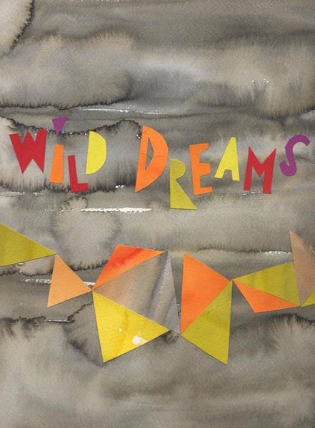 Wild Dreams - Modern Abstract Art Print - orange yellow grey print