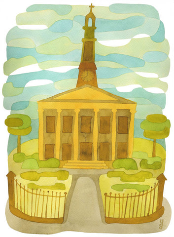 St Lukes - Mid Century Modern Art Print - green orange brown West Norwood Print