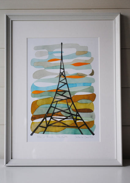 Blue and Brown Transmitter - Mid Century Modern Art Print - Crystal Palace Print