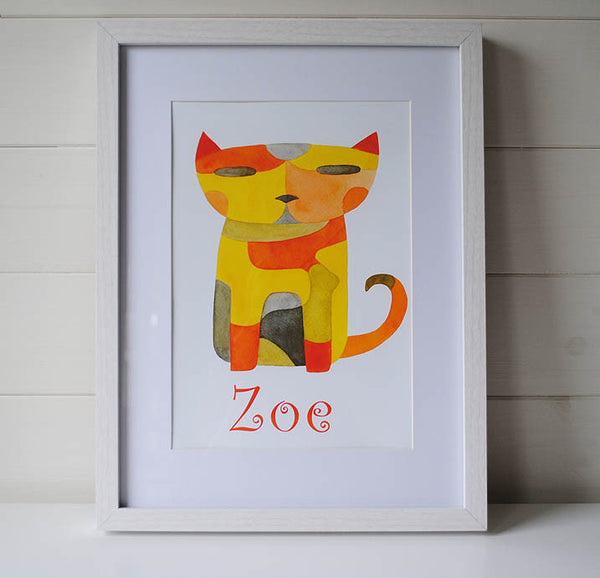 Cat Print personalized with Child's Name